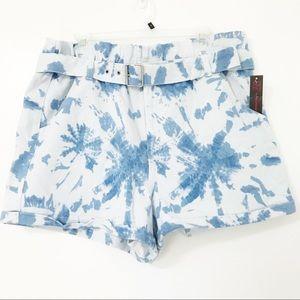 Tye Dye Pattern Jean Paper Bag Shorts